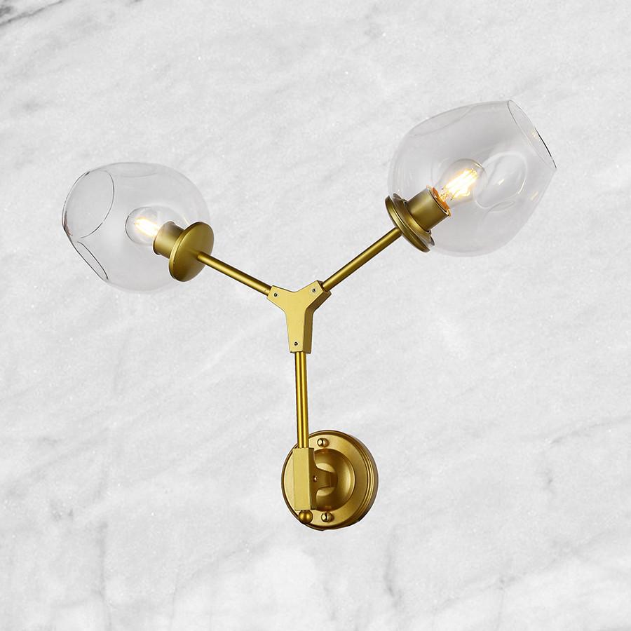 "Золотая бра ""Молекула"" (56-LWPR0231-2 GD) прозрачный"