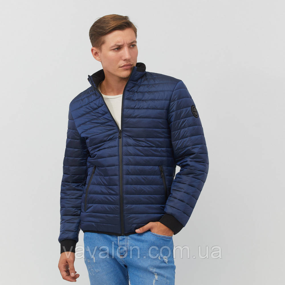 Куртка под резинку в один шов синяя
