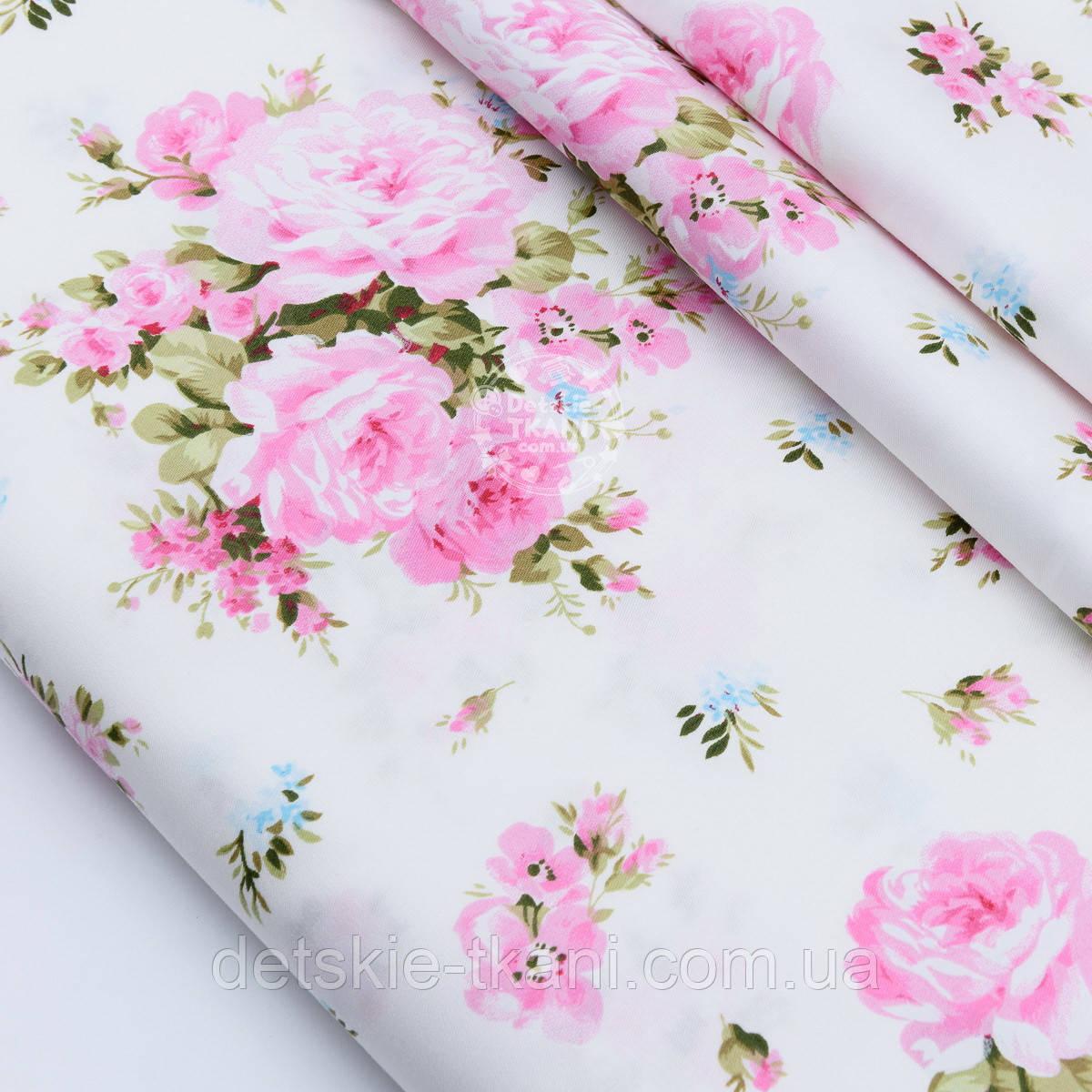 """Сатин ткань """"Большие розовые розы и голубые незабудки"""" на белом №1696с"""