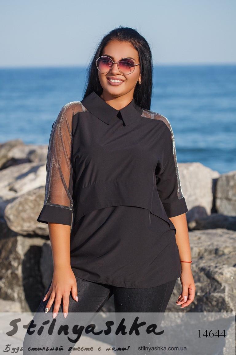 Стильная блузка для полных с воротником черный, фото 1