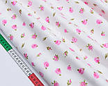 """Сатин ткань """"Маленькие розовые цветочки"""" на белом №1695с, фото 2"""