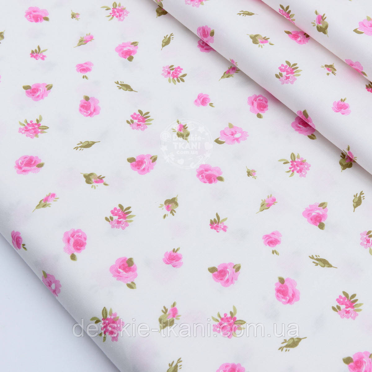 """Сатин ткань """"Маленькие розовые цветочки"""" на белом №1695с"""