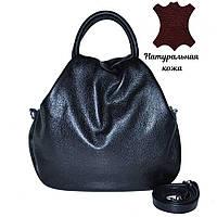 Кожаная женская сумка с двумя ручками и плечевым ремнем Basket черная