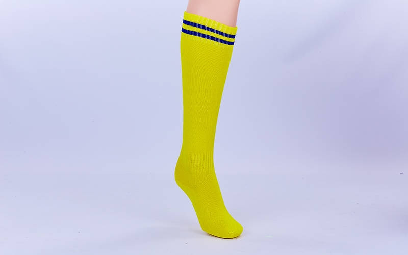 Гетры футбол юниорские CO-5602-YB (нейлон, р-р 32-39, желтый, синяя полоса)