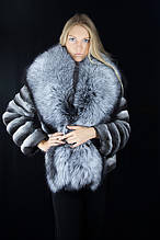 Шуба кожушок з шиншили і фінської чорнобурки Natural chinchilla fur coats jackets