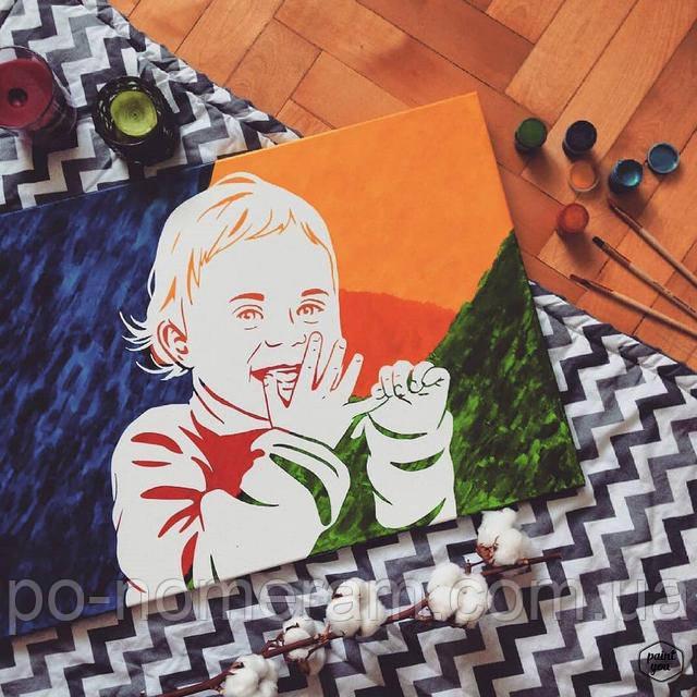 Портрет ребенка флип-флоп - картина в детскую своими руками