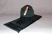 Набор мужской (шапка шарф) DIESEL 200-26 тёмно-серый