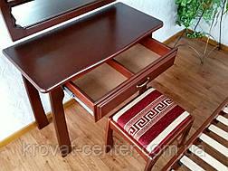 """Туалетный столик с зеркалом и пуфом из натурального дерева """"Версаль"""" (итальянский орех), фото 3"""