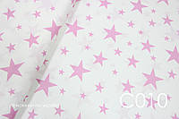 Ткань сатин Звёзды розовые, фото 1