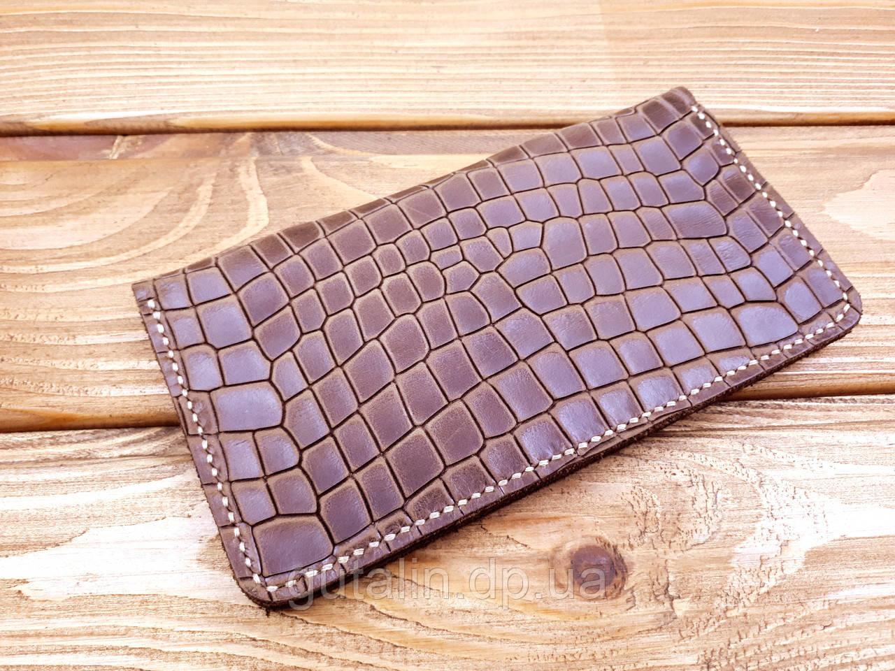 Бумажник ручной работы из натуральной кожи Рептилия цвет коричневый