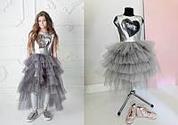 Шикарное Нарядное Летнее Платье Для Девочки С Пышной Юбкой Из Фатина MONE dce456cfcea10