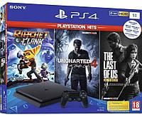 Игровая приставка Sony PlayStation 4 Slim (PS4 Slim) 1TB + Ratchet & Clank + The Last of Us + Uncharted 4