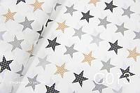 Ткань сатин Звёзды коричневые, серые, черные ОСТАТОК 100*80, фото 1
