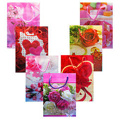 Пакеты Подарочные Пластиковые с Розами 17 см * 12 см * 5,5 см (малый)  Упаковкой 12 шт.