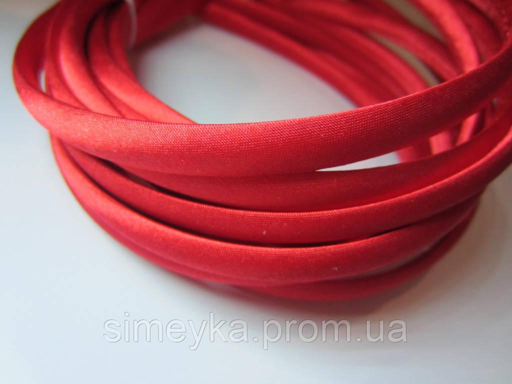 Обруч для волос пластиковый в атласе, 1 см. Красный