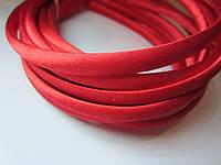 Обруч для волос пластиковый в атласе, 1 см. Красный, фото 1