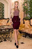 Нарядное бархатное платье с гипюром