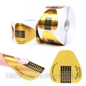"""Формы для наращивания ногтей """"Золото"""" - рулон 500 шт. (5,8 * 5,8 см.), фото 2"""