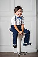 Элегантный Комплект Подтяжки И Бабочка Для Мальчика В Оригинальную Голубую Полоску NEKIBUKI, Турция
