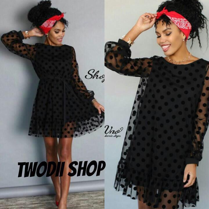 15bfd929d0f Красивое платье свободного кроя сетка в горошки DH-002.1218.053 ...