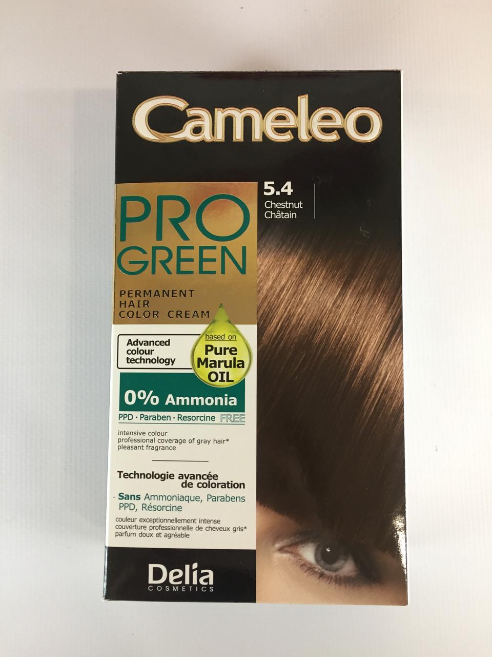 Крем-краска Delia для волос Pro Green с маслом Марулы 5.4 Каштановый