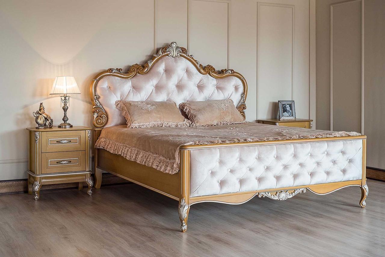 Кровать 180 с высоким изножьем Империя Мебус темная