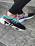 Мужские кроссовки FILA x HungryEyes Mindbreaker Black/Blue/Red . Живое фото (Реплика ААА+), фото 3