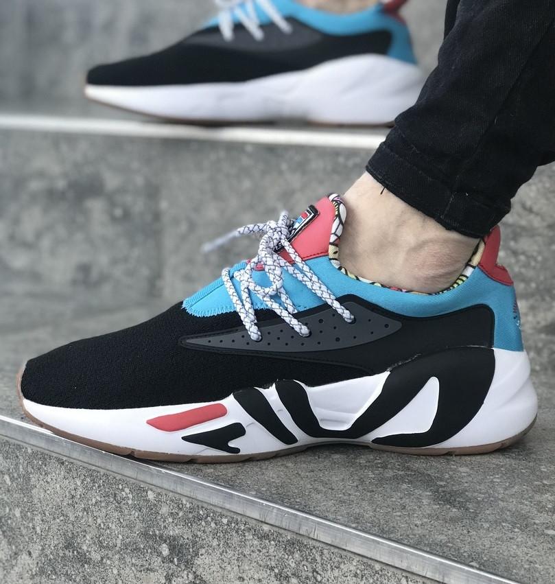 Мужские кроссовки FILA x HungryEyes Mindbreaker Black/Blue/Red . Живое фото (Реплика ААА+)