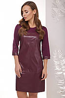 Стильное демисезонное прямое платье выше колен из эко-кожи однотонное баклажановое