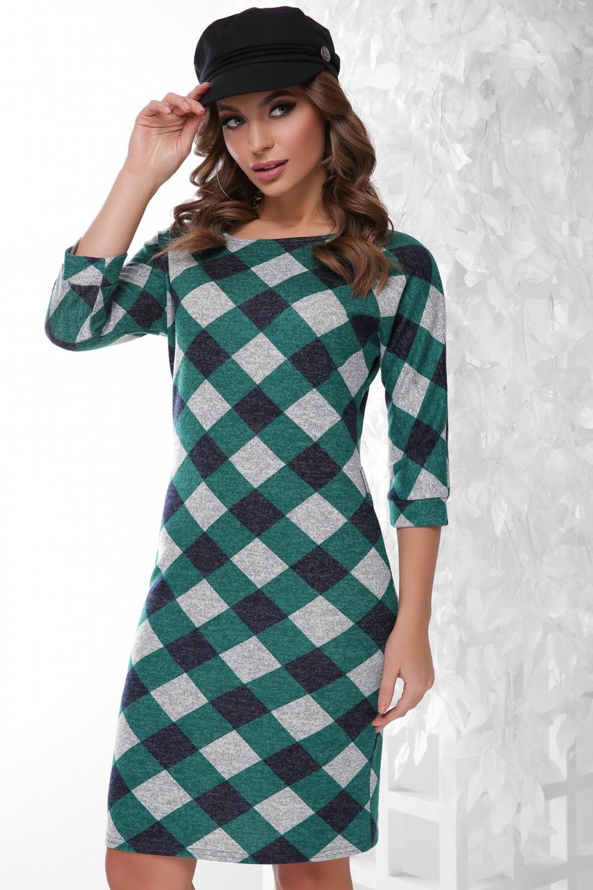 Стильне облягаюче плаття по коліно з ангори принт зелений ромб