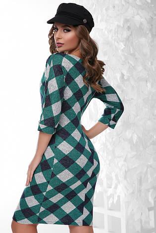 Стильне облягаюче плаття по коліно з ангори принт зелений ромб, фото 2