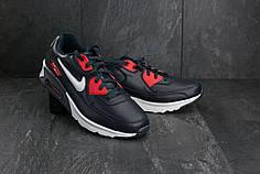 Мужские демисезонные кроссовки Nike Air Max синие с красным топ реплика