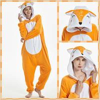 Пижама Кигуруми Лиса на молнии микрофибра (велсофт)