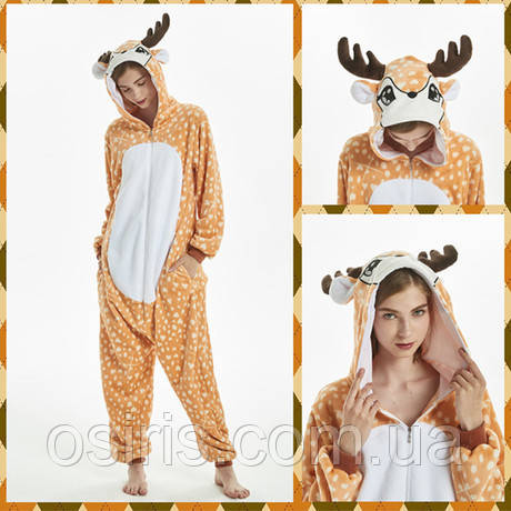 Пижама Кигуруми Олень микрофибра (велсофт) на молнии Размер S M L XL / взрослые и детские кигуруми