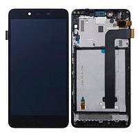 Дисплей для Xiaomi Redmi Note 2 с тачскрином и рамкой черный Оригинал