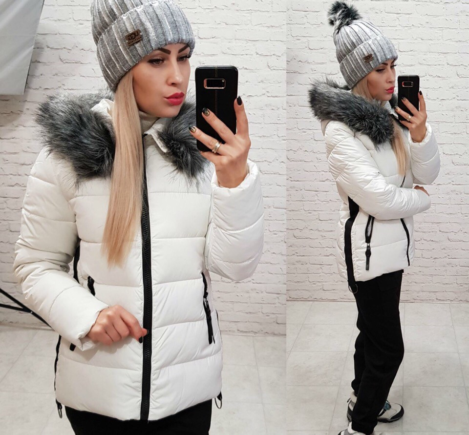 e06decc360c Супер теплая зимняя женская куртка на холлофайбере белая  продажа ...