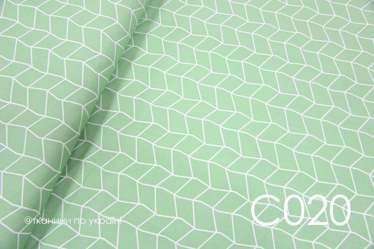 Ткань сатин Геометрия на зеленом