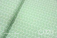 Ткань сатин Геометрия на зеленом, фото 1