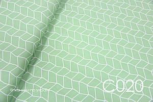 Тканина сатин Геометрія на зеленому ЗАЛИШОК 1,4 м