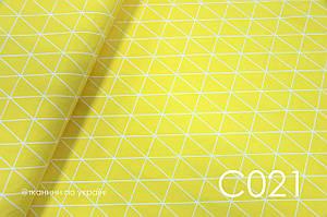 Тканина сатин Трикутники на жовтому