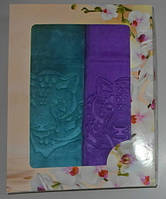 Набор полотенец  микрофибра велюр лицевое 2 шт 100х50 см