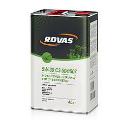Моторное масло Rovas 5W-30 С3 504 507 синтетика 4л 110052, КОД: 155053