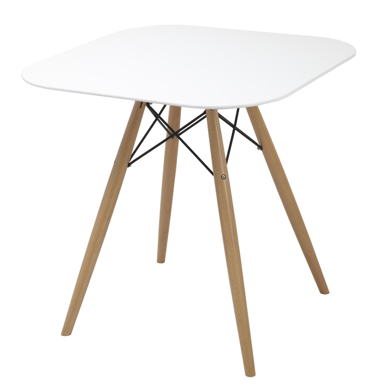 Стол обеденный Осло 800*800, белый, ольха