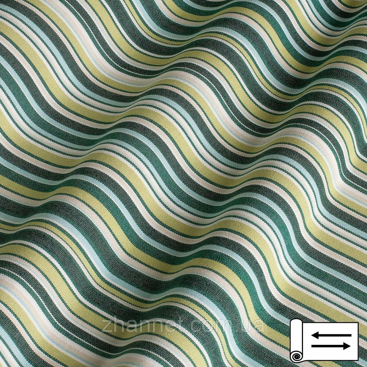 Ткань Дралон полоса зеленый, салатовый, белый 160 см (4833004)