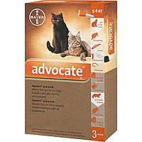 Bayer (Байер) Адвокат - для котов до 4кг (упаковка 3 пипетки, цена за 1 шт).