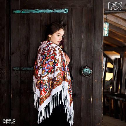 Женский павлопосадский платок Изумрудный восторг, фото 2