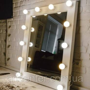 Зеркало гримерное, зеркало в раме белого цвета