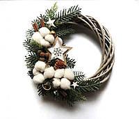 Новогодний рождественский венок с натуральным декором 27 см Зеленый 9590039IK, КОД: 258353