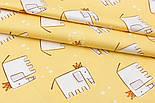 """Сатин ткань """"Слоны с коронами и звёздочками"""" на жёлтом №1754с, фото 2"""