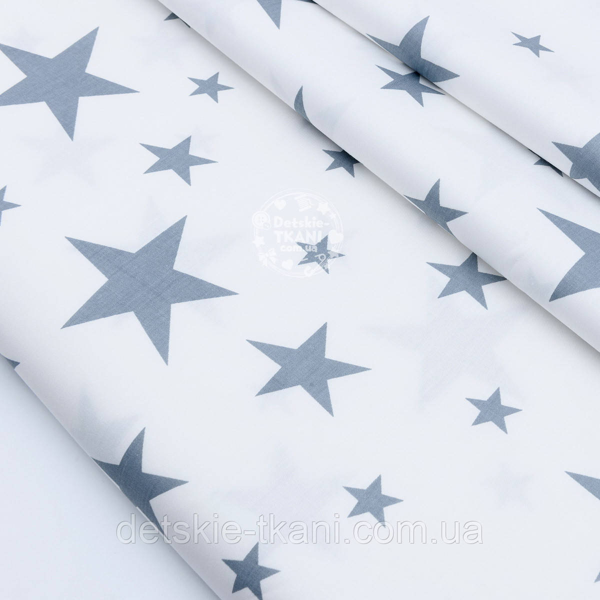 """Сатин ткань """"Большие и малые звёзды"""" серые на белом, №1756с"""